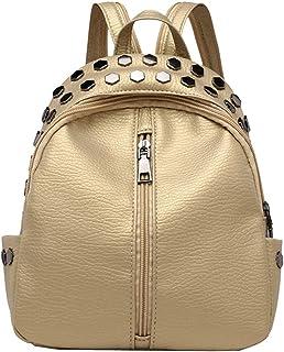 Ladies Small Backpack Rivet Vintage Women Backpack Teenagers Mini School Bag,Black-Gold-OneSize