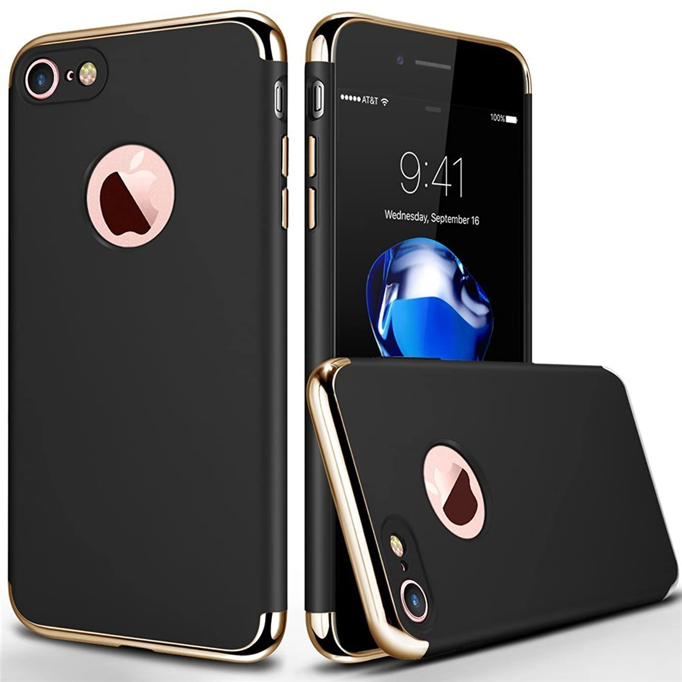 iPhone 7 Case, COOLQO Ultra-Thin 3in1 Plastic Electroplated Hard Frame with Tempered Glass Screen Protector Slim fit Shockproof PC Cover Skin & Case for iPhone 7 4.7 Inch (Black)