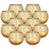 Just Artifacts Round Mercury Glass Votive Candle Holders 2-Inch Speckled Gold (Set of 12) ...