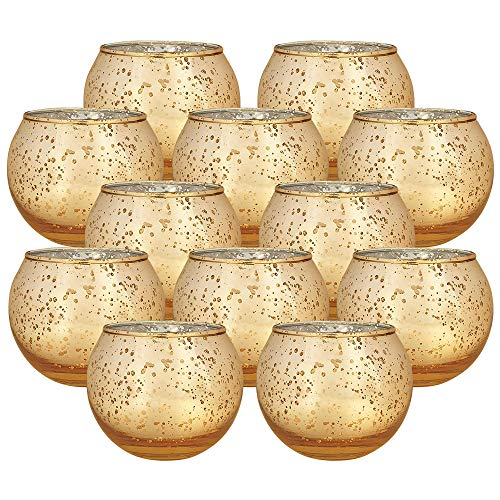 Just Artifacts Round Mercury Glass Votive Candle Holders 2-Inch Speckled Gold (Set of 12) - Mercury Glass Votive Candle Holders for Weddings and Home Décor