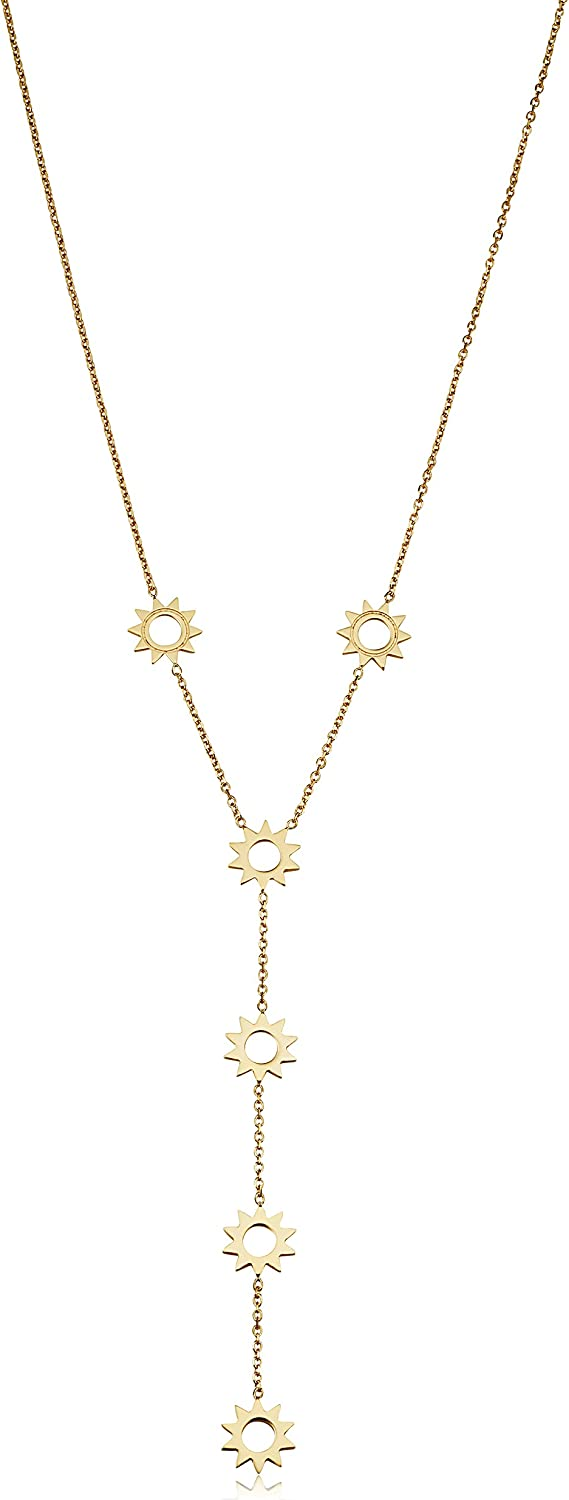 14k Yellow Gold Sunshine Station Adjustable Length Y Necklace For Women (adjusts to 17 or 18 inch)