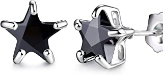 Silver Tone Charming Star Garnet Color Wedding Stud Earrings