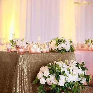 ShinyBeauty 60x102-Copper-Sequin Rectangular Tablecloth Sequin Table Linen Sequin Wedding Fabric (Blush Gold)