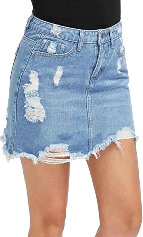 MOUTEN Womens Stylish Destroyed Ripped Hole A-Line Denim High Waist Mini Skirts
