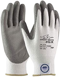 Protective Industrial Products 2X White And Gray Great White 3GX Light Weight Dyneema Diamond Blend Cut Resistant Gloves With Knit Wrist And Polyurethane Coated Palm And Fingertips