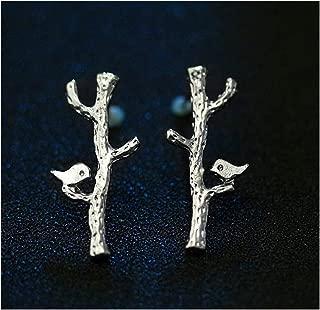 Silver Bird Sitting on The Branch Novelty Stud Earrings
