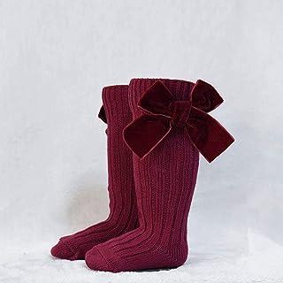 N-B, N-B 6 Colores Niños Niña Princesa Terciopelo Bowknot Calcetines Arco para niños Calcetines de Tubo. Lindo bebé niño pequeño calcetín de Punto de Lana hasta la Rodilla 0-6Y