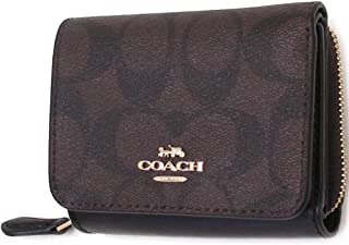 Coach Women's Small Trifold Wallet in Signature Canvas (Brown - Black)
