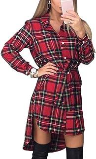 5f0d76d69ba4ff Shelers Camicette da Donna Camicie Scozzesi A Maniche Lunghe Camicetta con  Colletto Rovesciato Camicetta Casual Bluse