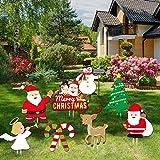 Sayala 8pcs Signes de Jardin de Noël avec des enjeux pour Les décorations de Jardin de Vacances Pelouse - Décorations de Vacances de Noël en Plein air