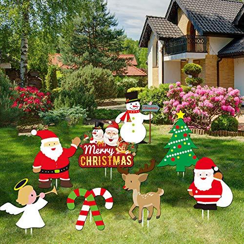 Sayala 8 Pezzi Decorazioni per Prati di Natale, Babbo Natale, Pupazzo di Neve, Albero di Natale Pali di Cantiere Decorazioni per Le Feste per Decorazioni per la casa
