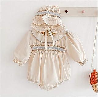 XYAN XYAN Neugeborene Mädchen Jumpsuits Kleidung 2020 Herbst-Baby-Lotos-Blatt-Kragen-Strampler  Hut gestrickte Langarm Kinder Strampler Farbe : 92041 apricot, Kid Size : 6M