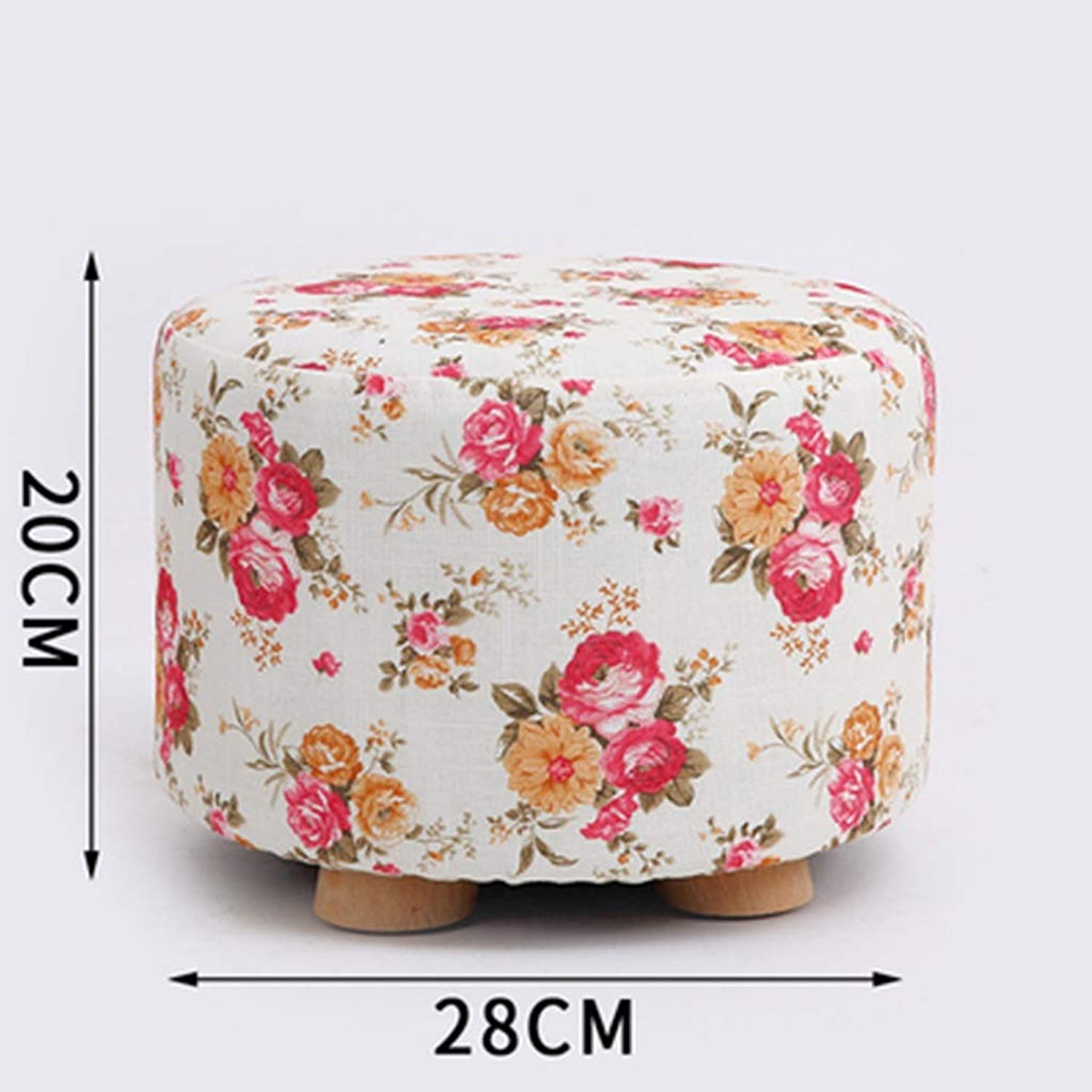 DQMSB Solid Wood Stool Home Change shoes Stool Stool Fashion Creative Living Room Small Bench Sofa Stool Bedroom Fabric Stool (color   A)