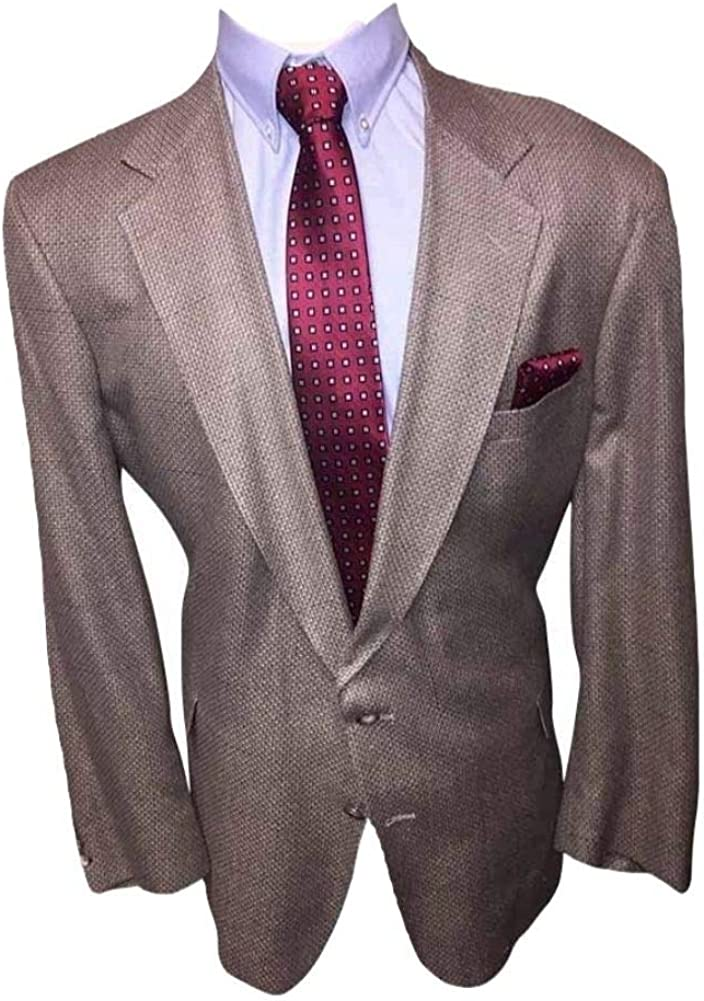 Repp Big and Tall 52 Long Beige Textured 100% Wool Sport Jacket 52L