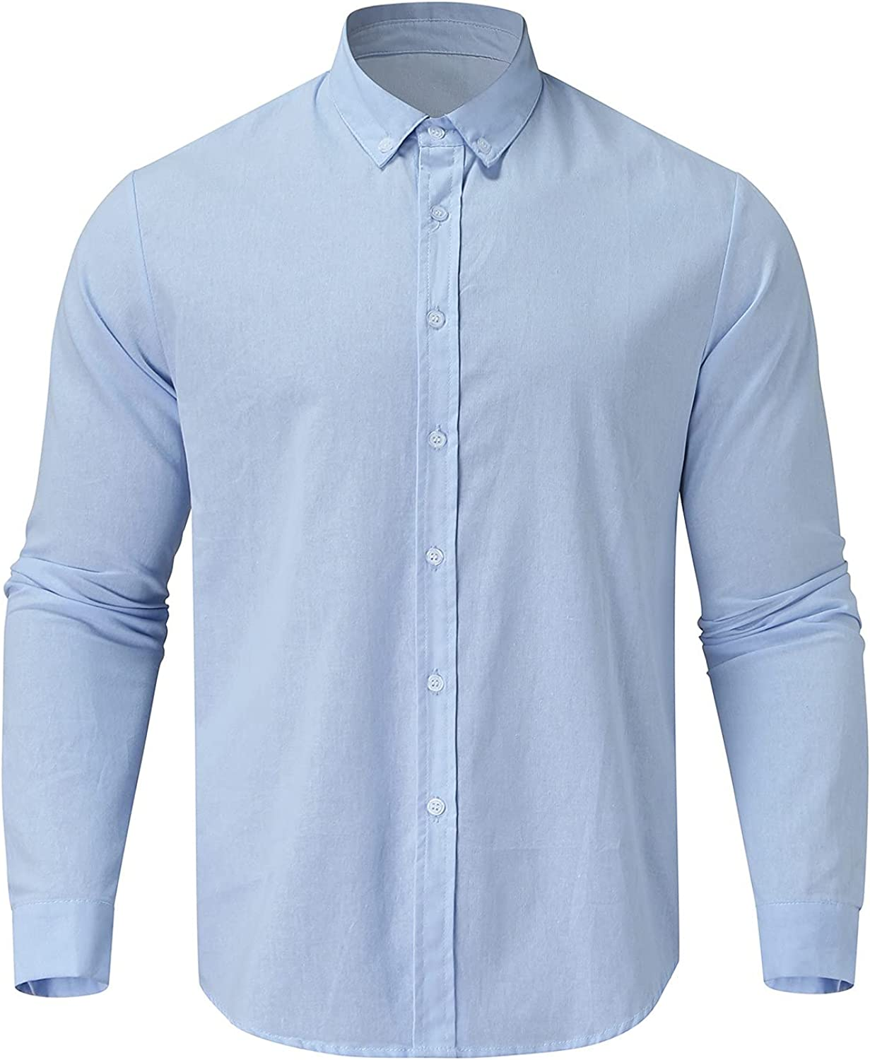 Shirt for Men Casual Turndown Collar Solid Color Long Sleeve Slim Fit Classic Button Down Blouse Lightweight Tunic