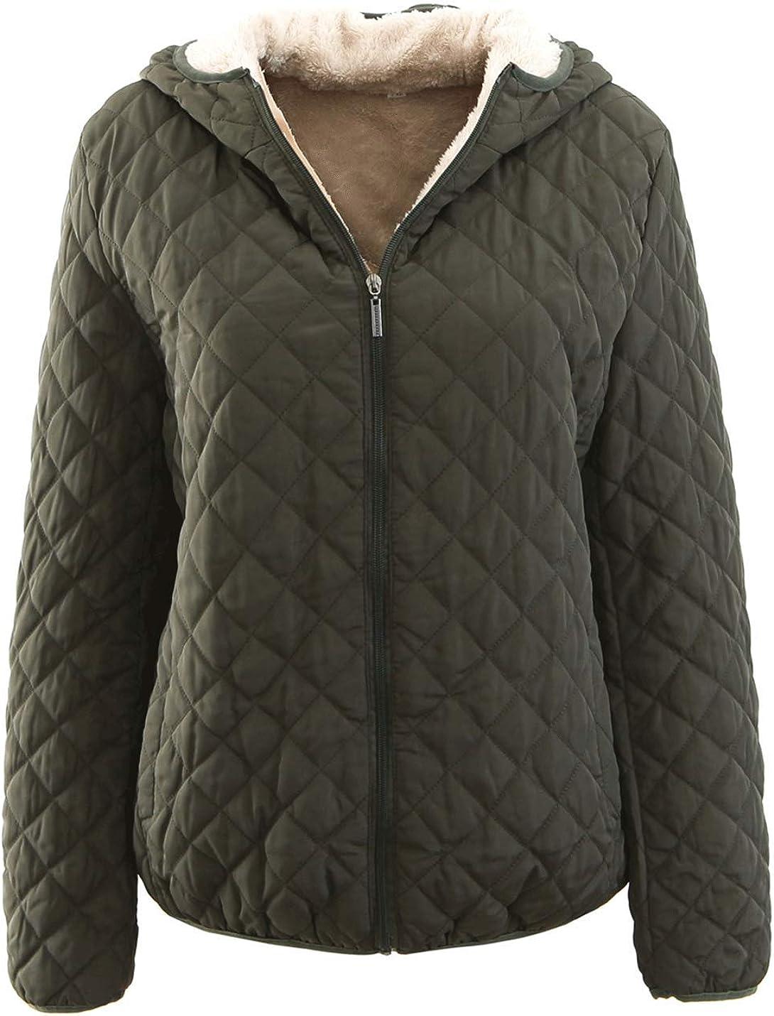Jenkoon Women's Short Sherpa Lined Quilted Jacket Zip up Hoodie Overcoat Jacket