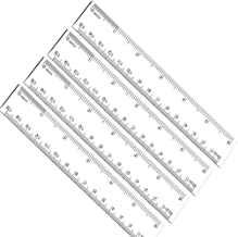 6 Inches Plastic Straight Hard Ruler 4 Pack Viaky See Through Flexible Ruler with Inches and Metric Measuring Tool for Student School Office, Clear