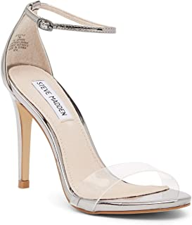 Steve Madden Womens Stecy Open Toe Casual Ankle Strap Sandals, Pewter, Size 10.0