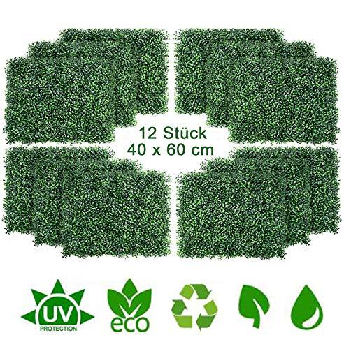 uyoyous 12 Stück Künstliche Hecke Hängepflanzen Efeu Rebe Wand Pflanzenwand für Haus Zimmer Garten Hochzeit Girlande Außerhalb Dekoration - 40X60cm