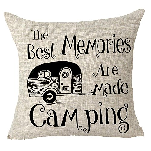 FELENIW The Best Memories are Made Camping Throw Pillow Cover Cushion Case Cotton Linen Material Decorative 18' x 18'' inches