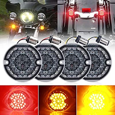 3-1/4 Inch LED Turn Signal Kit for Harley Flat Smoke Lens 1157 Double Base Amber Front Turn Signal Bulbs + 1156 Single Connector Red Rear Turn Signal Lights for Harley Motorcycle Road Glide Road King
