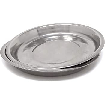 Honbay 2PCS Stainless Steel Round Dinner Plates Dishes for Home and Camping (Height: 2.1cm/0.83inch)