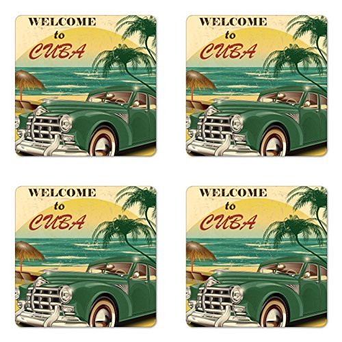 Lunarable Cars Coaster Set of 4, Vintage Vehicle Parked by the Exotic Beach Havana Cuba Summer Vacation Road Trip Theme, Square Hardboard Gloss Coasters, Standard Size, Green Beige