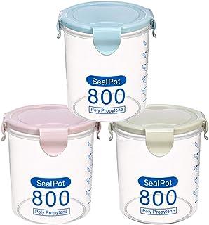 SANKESONG Vorratsbehälterset für Lebensmittel, 3 Stück Frischhaltedosen Aufbewahrungsbox Vorratsdosen, containers with lids, 800 ml, BPA-frei, für Milchpulver, Mehl, Reismehl Pink/Blau/Grün