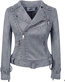 Women's Heavy Industry Studs PU Jacket Personalized Punk Handsome Leather Jacket,E,S