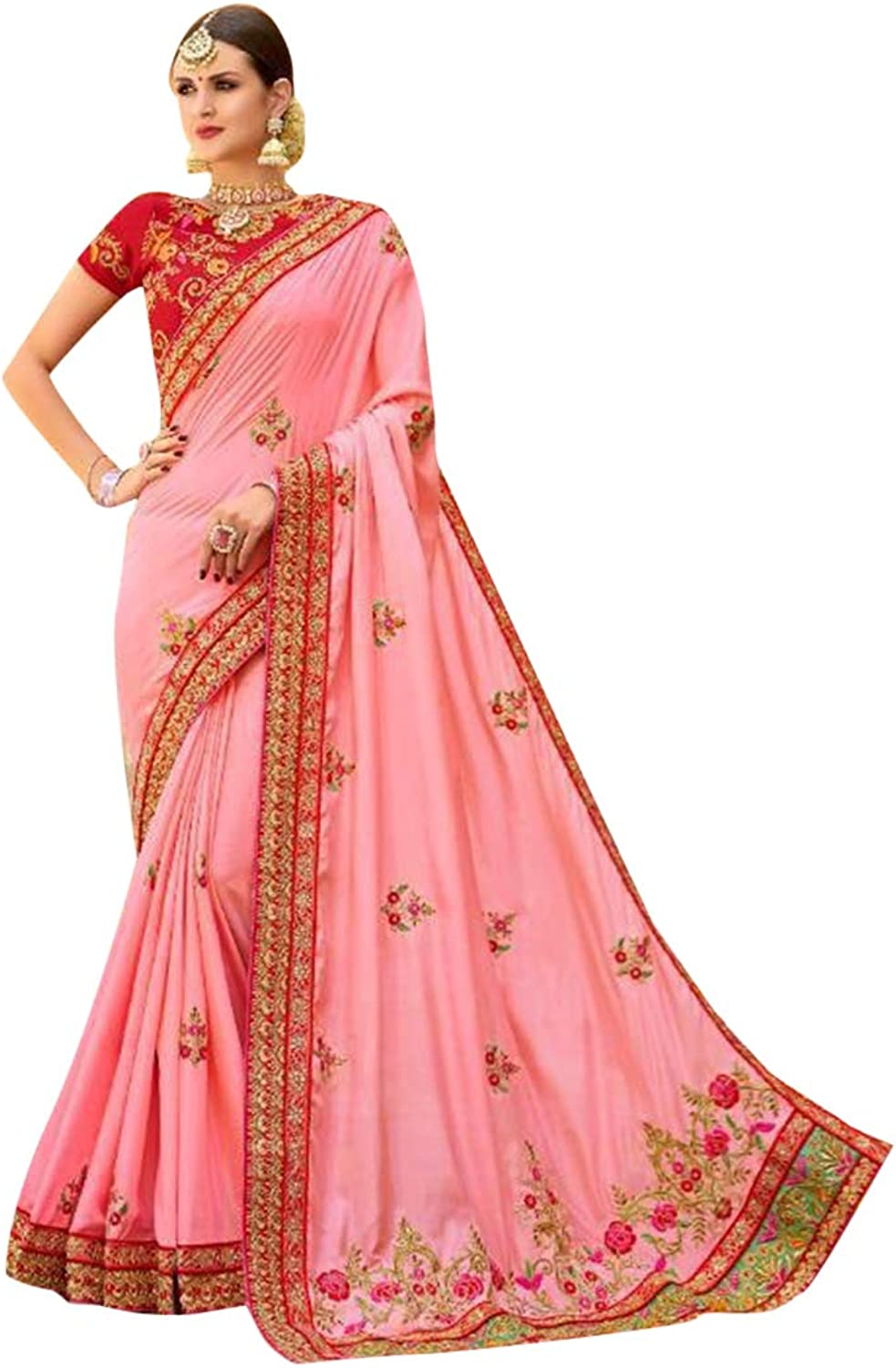 Party wear heavy pink saree with blouse wrap dress ethnic indian women wear 7376