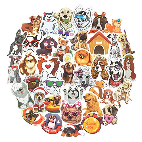 80pcs Waterproof Cute Dog Stickers for Laptop Water Bottle Luggage Guitar Vinyl Sticker Good Gift