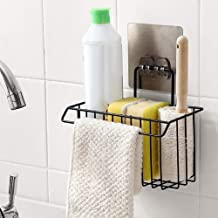 ADTALA Sink Caddy Organizer Metal Iron Sponge Holder Rack Drain Rack Baket for Kitchen Brush Soap Dishwashing Liquid (Black)