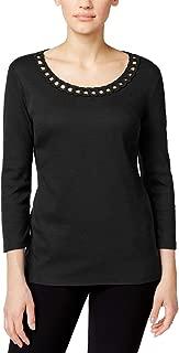 Karen Scott Womens Petite Embellished Knit Top (Deep Black, Petite Medium)