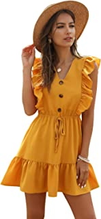 JQSTY Women's Ruffle Sleeveless Mini Dress V Neck A-line Casual Beach Swing Dresses