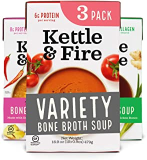 Sponsored Ad - Bone Broth Soup Variety Bone Broth Soup, Tomato, Miso, and Thai Curry Variety Pack by Kettle and Fire, Pack...