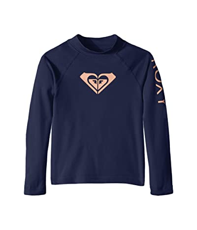 Roxy Kids Whole Hearted Long Sleeve Rashguard (Toddler/Little Kids/Big Kids) (Medieval Blue) Girl