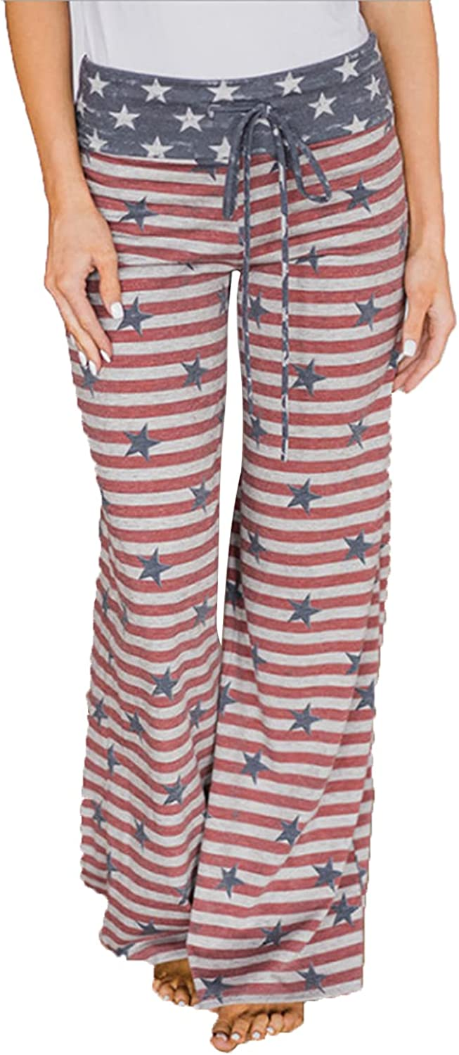 Women's Printed Wide-Leg Pants Comfy Stretch Floral Print Drawstring Lounge Trousers Casual Stretchy Casualpants (3X-Large,Pink 2)