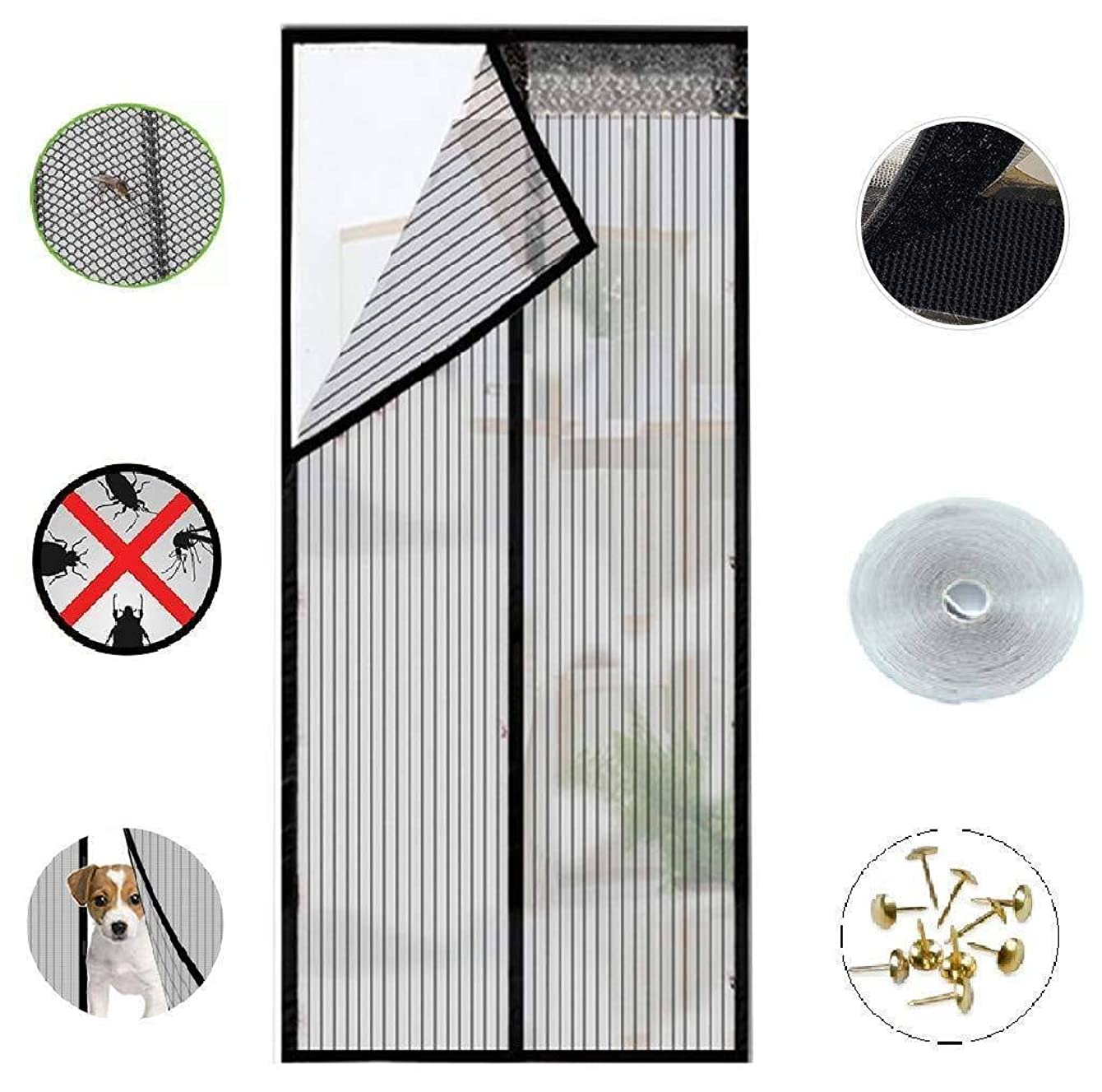 Magnetic Screen Doors New 2018 Patent Pending Design Full Frame Velcro and Fiberglass Mesh Polyester This Instantly Retractable Bug Screen. (Fits Doors up to 36 x 82-inch) fdhhgmhgm