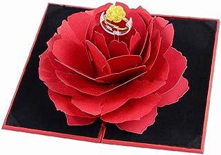 Hotaden 3D Vintage Anelli Scatola di Cerimonia Nuziale Anello di Fidanzamento Fiore della Rosa Confezioni Regalo di Esposi...