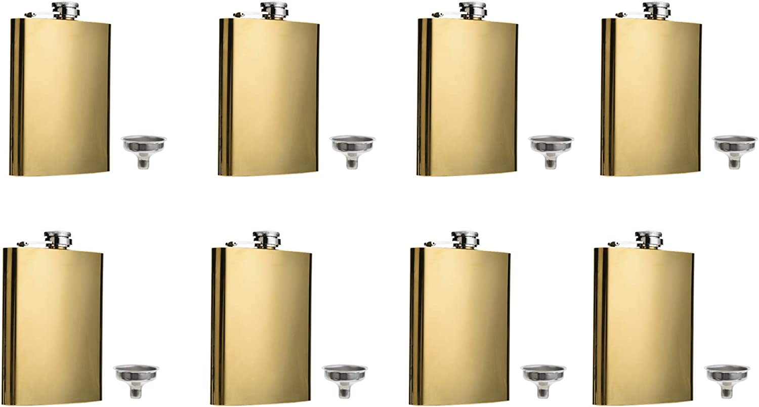 FF Elaine 67% OFF of fixed price Golden Flasks Stainless New Free Shipping Steel oz Flask Set 8 Funnel