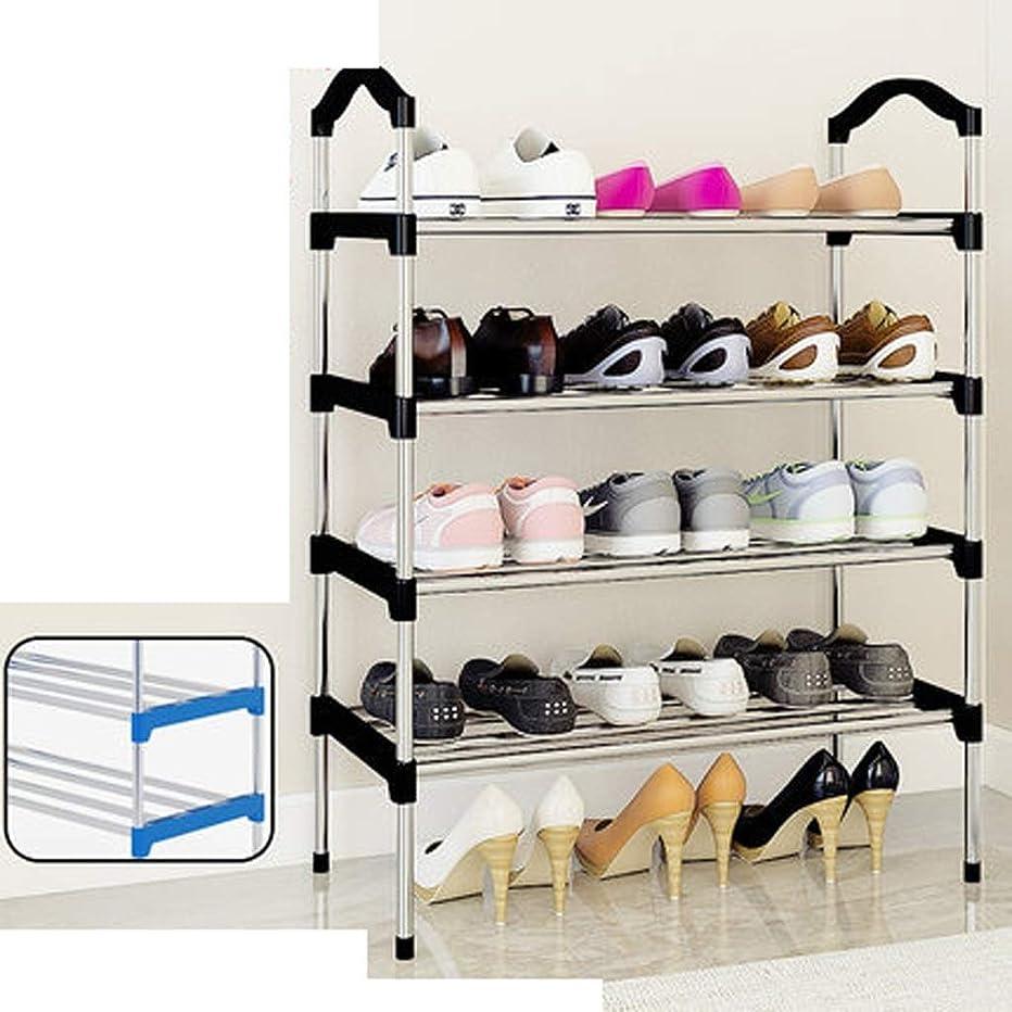 食用刻む鹿靴ラック多層シンプルな家庭用経済的な靴収納塵布靴のキャビネット寮のドア小さな靴収納ラック(色:青、エディション:B)