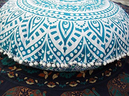 Sophia Art Ombre Mandala Sol Coussins décoratifs, couvre-lit Taie d'oreiller 81,3 cm, Pouf rond Ottoman, indien Housse de coussin d'extérieur, Boho Pom Pom couvertures d'oreiller