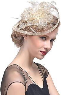 c55fdb69ecc9b Sinamay Fascinator Flower Feather Fascinators for Women Pillbox Derby Hat  for Royal Wedding Tea Party