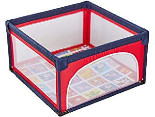 H aetn Playpens Folded Baby With Mat  Play Pen Yard Room Panel Activity Center For Child Boys Girls Outdoor Indoor  Color RED