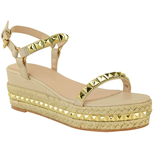 c872e6dbc473 Fashion Thirsty Heelberry® Ladies Womens Studded Low Wedge Espadrille  Sandals Platform Rose Gold Shoes Size