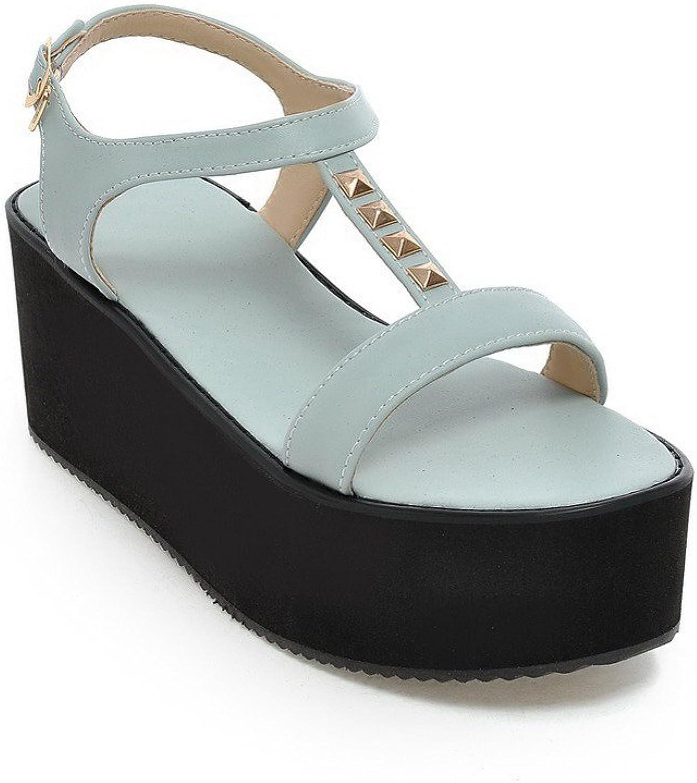 AmoonyFashion Women's PU Kitten-Heels Open-Toe Solid Buckle Sandals