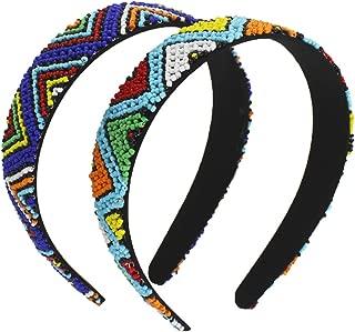 Bohemia V-shape Beaded Headband for Women - Fashionable Handmade Hair Hoops with Beading - Small Seed Bead Hair Band for Girls - Soft Lining Native American Hard Headband (Beaded Headband)
