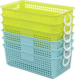 Morcte Classroom Storage Basket for Pencil, Markers and Notes Organizer Trays, 6-Pack