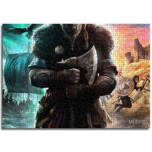 Puzzle Set 1000 Assassin'S Creed Valhalla Viking Axe Barco Espada Armadura Cuervo Desafío Puzzle Regalo de Acción de Gracias 26x38