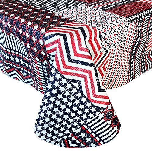 Home Bargains Plus Americana Patchwork Stars and Stripes Vinyl Flannel Backed Tablecloth - Red, White and Blue Patriotic Patchwork Indoor/Outdoor Tablecloth - 52' x 52' Square